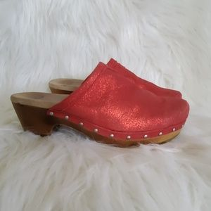 UGG Red Sparkle Wooden Heel studded mule Clogs